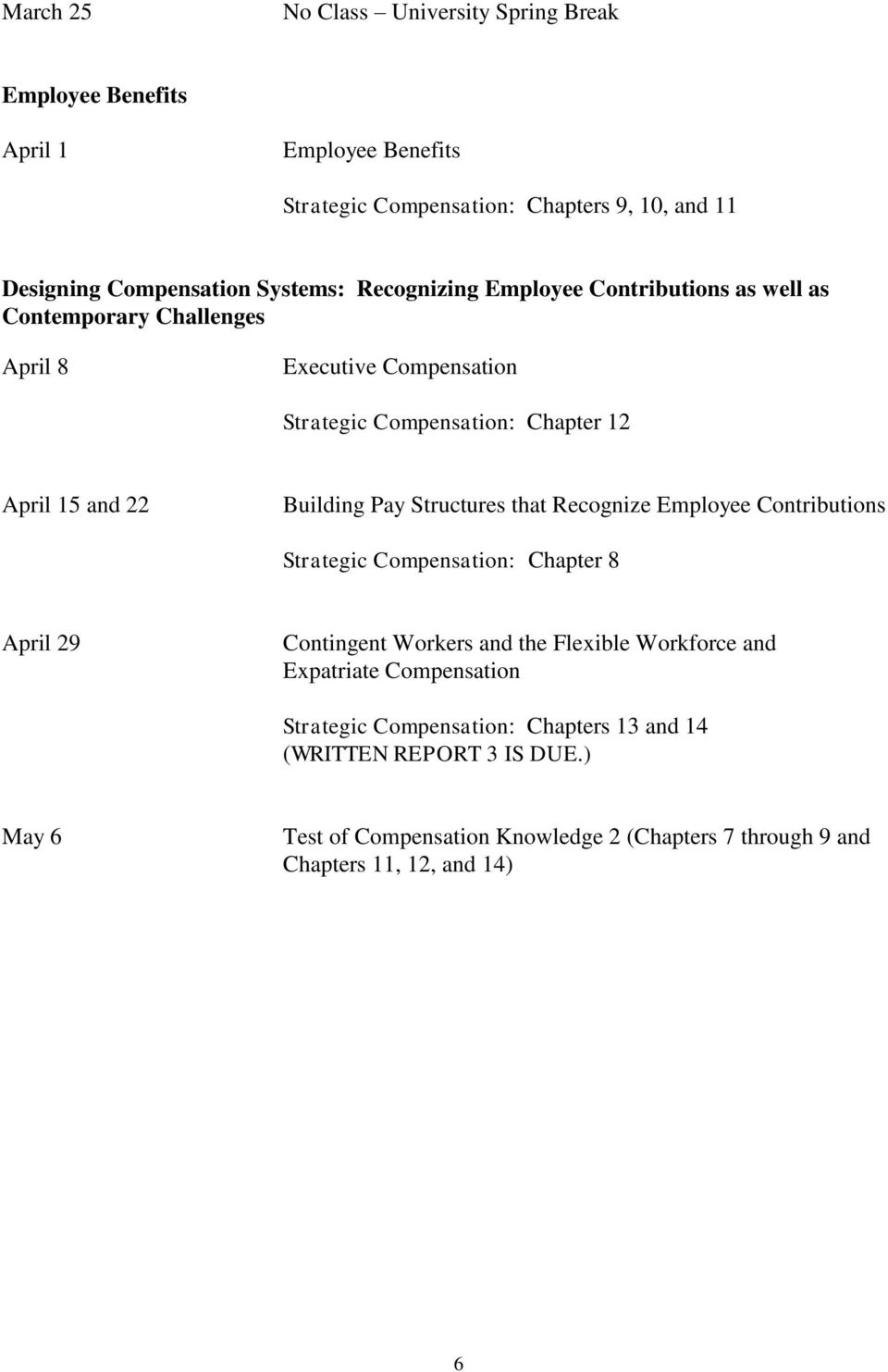 Structures that Recognize Employee Contributions Strategic Compensation: Chapter 8 April 29 Contingent Workers and the Flexible Workforce and Expatriate