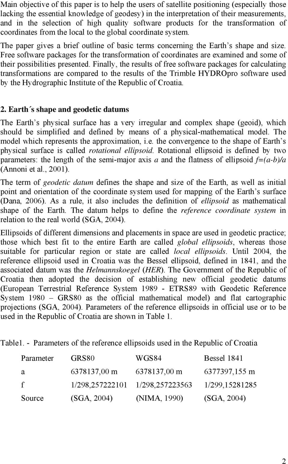 The paper gives a brief outline of basic terms concerning the Earth s shape and size.
