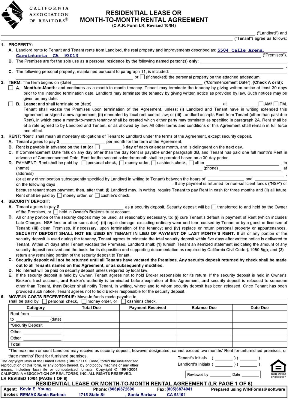 California Association Of Realtors Lease Form Erkal