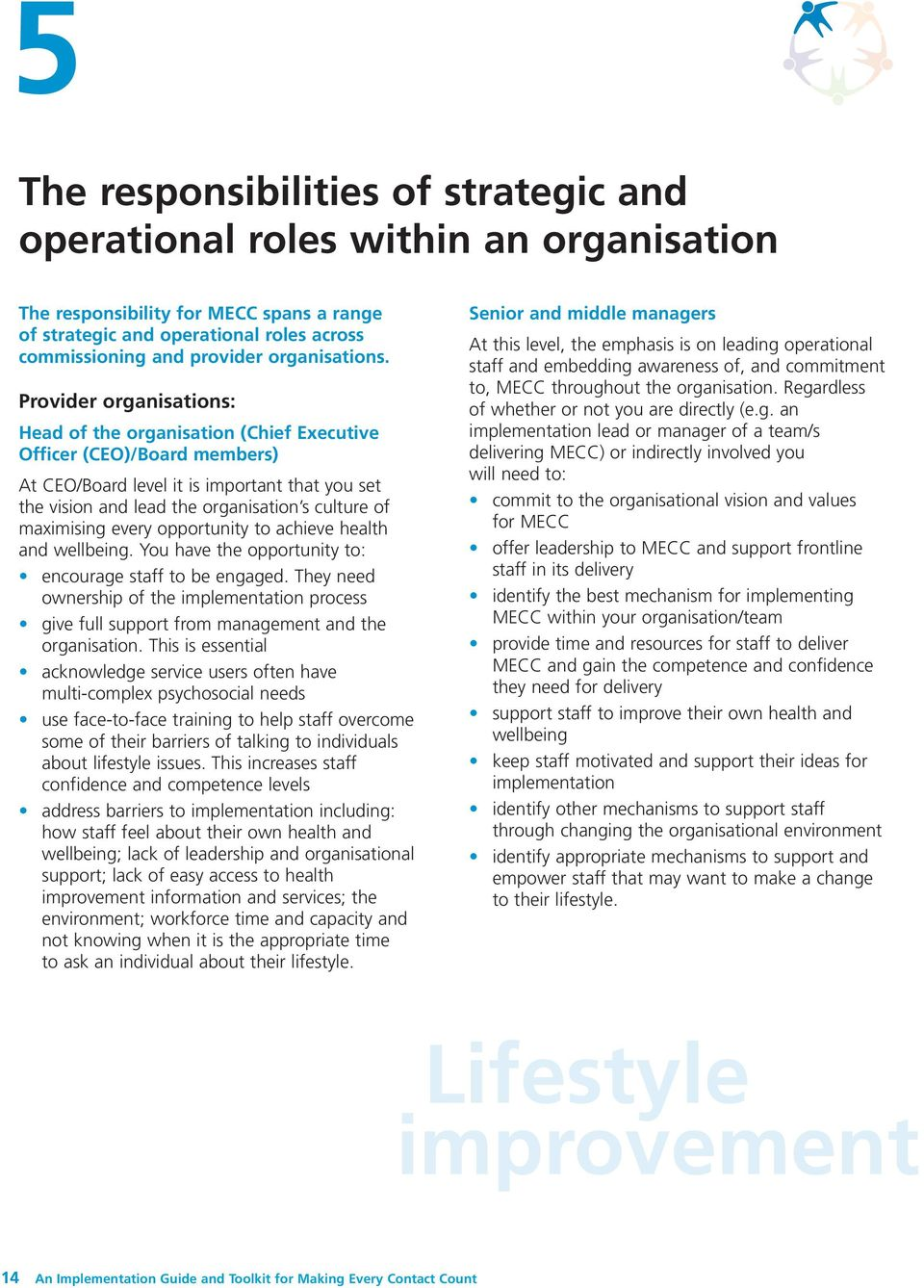 Provider organisations: Head of the organisation (Chief Executive Officer (CEO)/Board members) At CEO/Board level it is important that you set the vision and lead the organisation s culture of