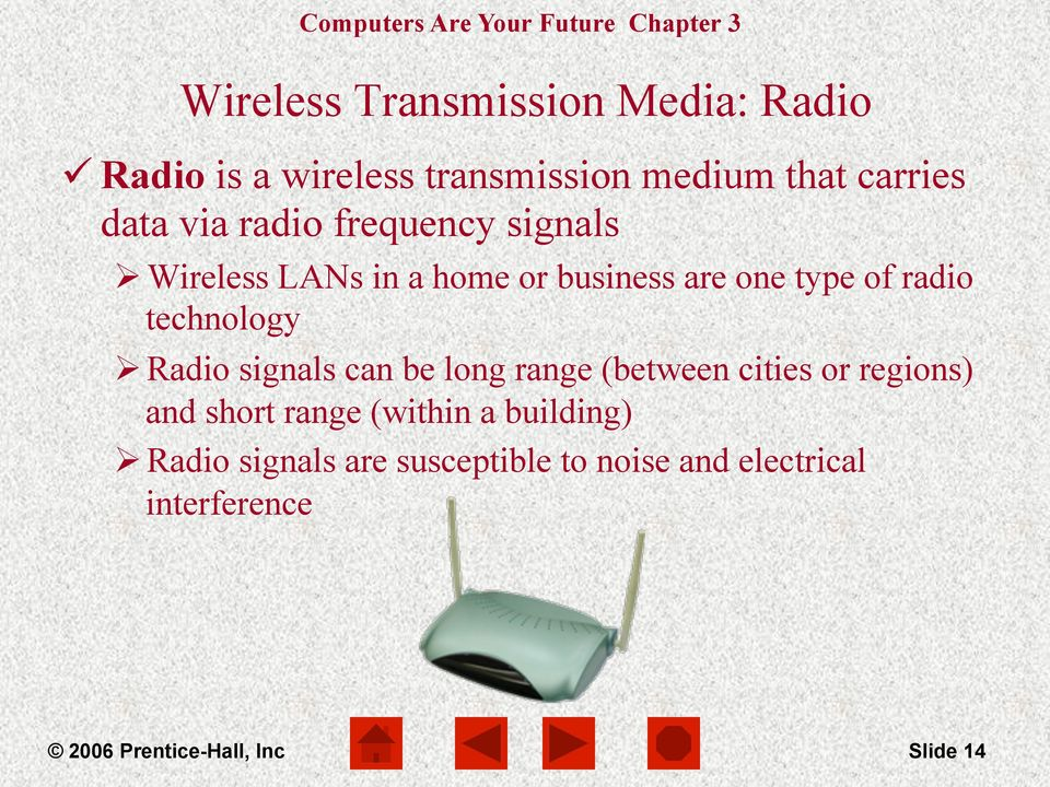 Radio signals can be long range (between cities or regions) and short range (within a building) Ø