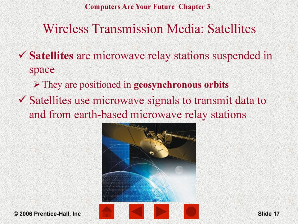 geosynchronous orbits ü Satellites use microwave signals to transmit