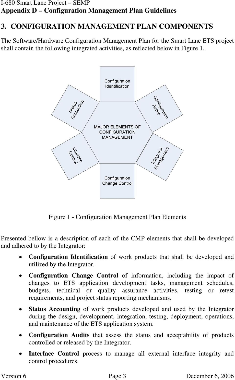 Status Accounting Configuration Audits Interface Control Integrator Management Figure 1 - Configuration Management Plan Elements Presented bellow is a description of each of the CMP elements that