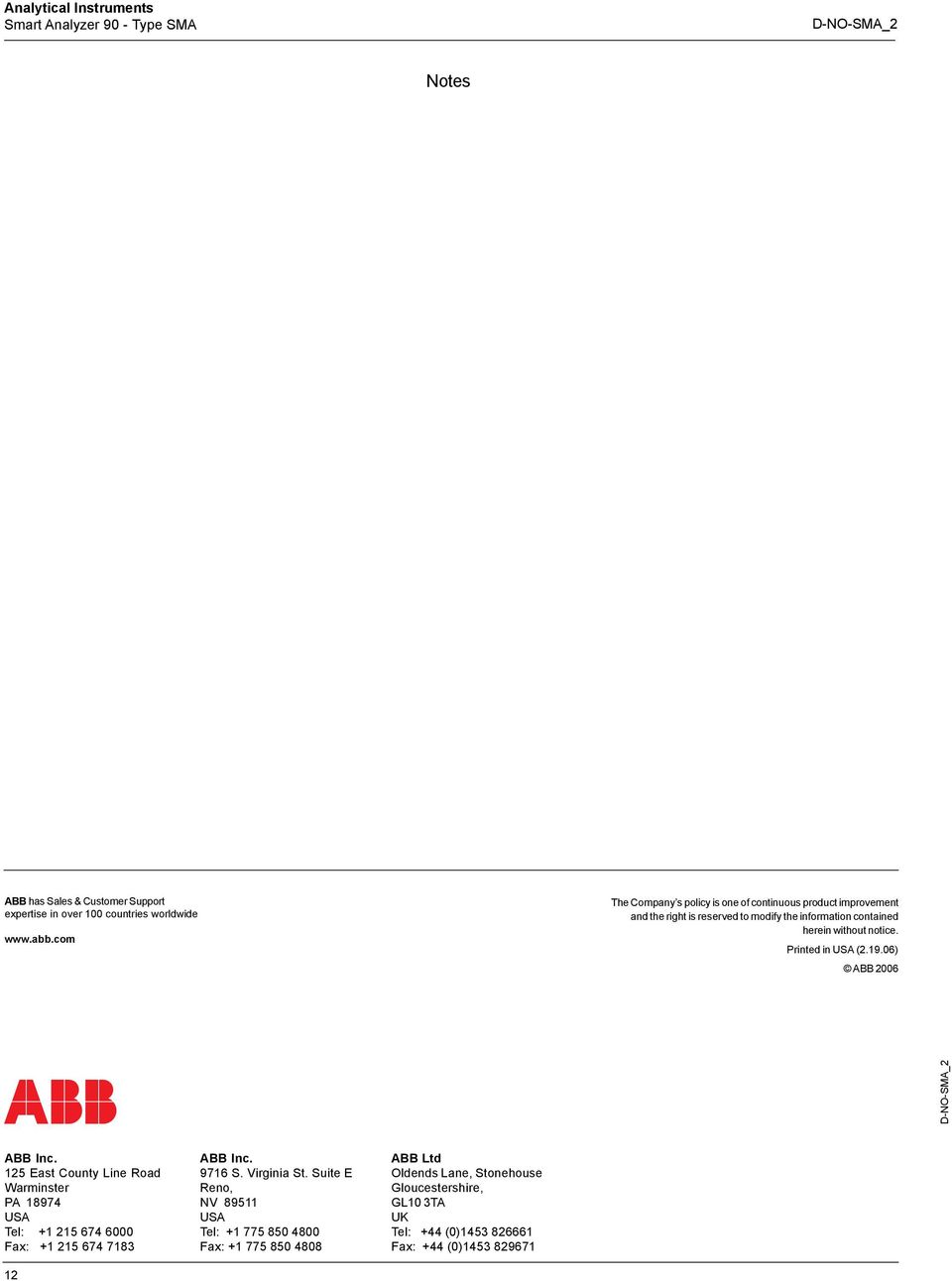 notice. Printed in USA (.19.06) ABB 006 ABB Inc.