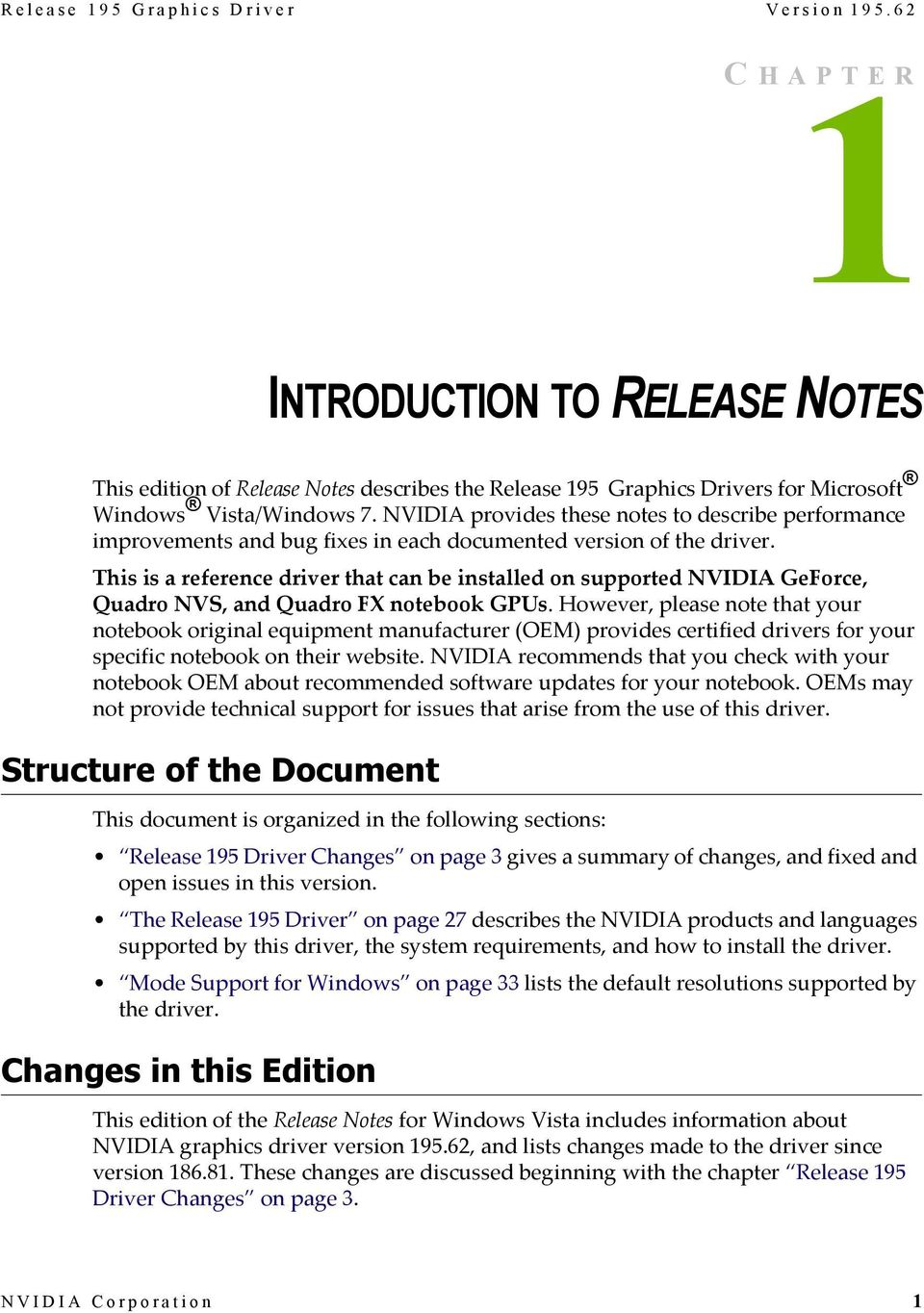 Release 195 Graphics Drivers for Notebooks Release Notes - PDF