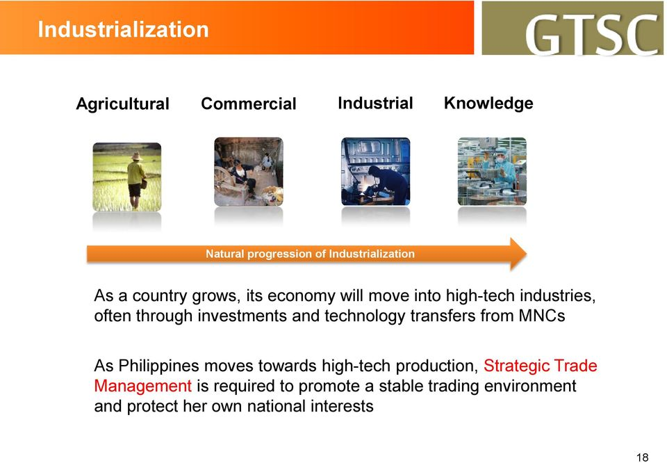 investments and technology transfers from MNCs As Philippines moves towards high-tech production,
