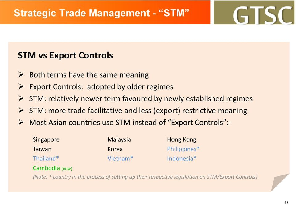restrictive meaning Most Asian countries use STM instead of Export Controls :- Singapore Malaysia Hong Kong Taiwan Korea