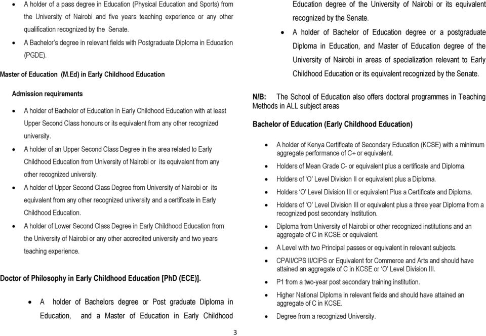 Ed) in Early Childhood Education Admission requirements A holder of Bachelor of Education in Early Childhood Education with at least Upper Second Class honours or its equivalent from any other