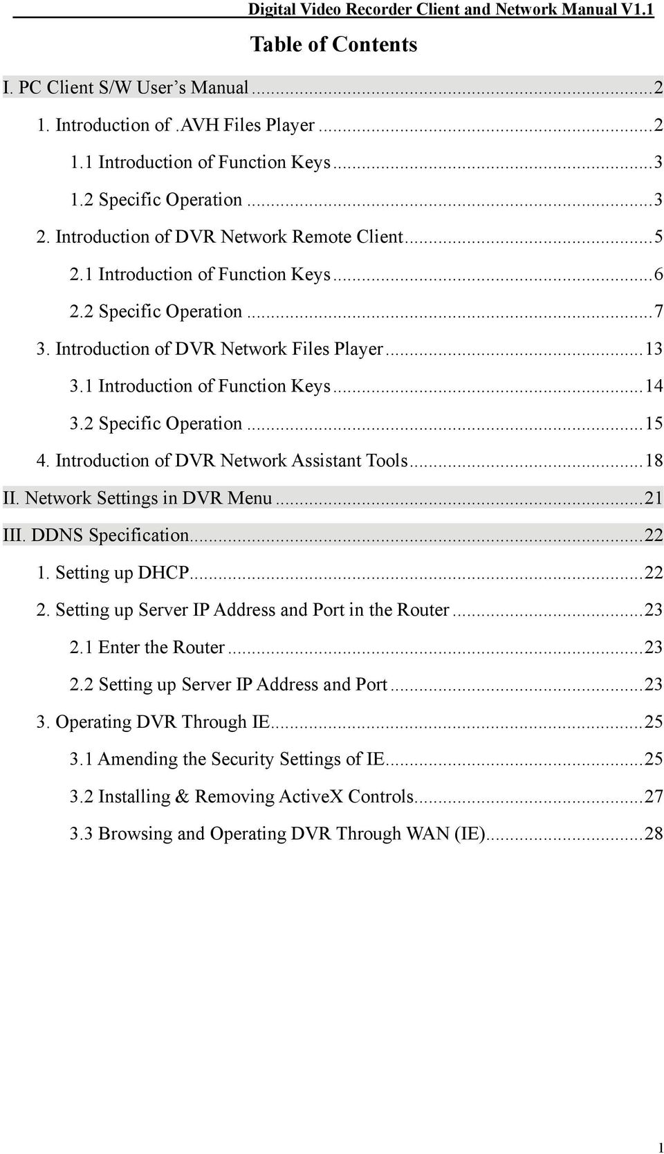2 Specific Operation...15 4. Introduction of DVR Network Assistant Tools...18 II. Network Settings in DVR Menu...21 III. DDNS Specification...22 1. Setting up DHCP...22 2.