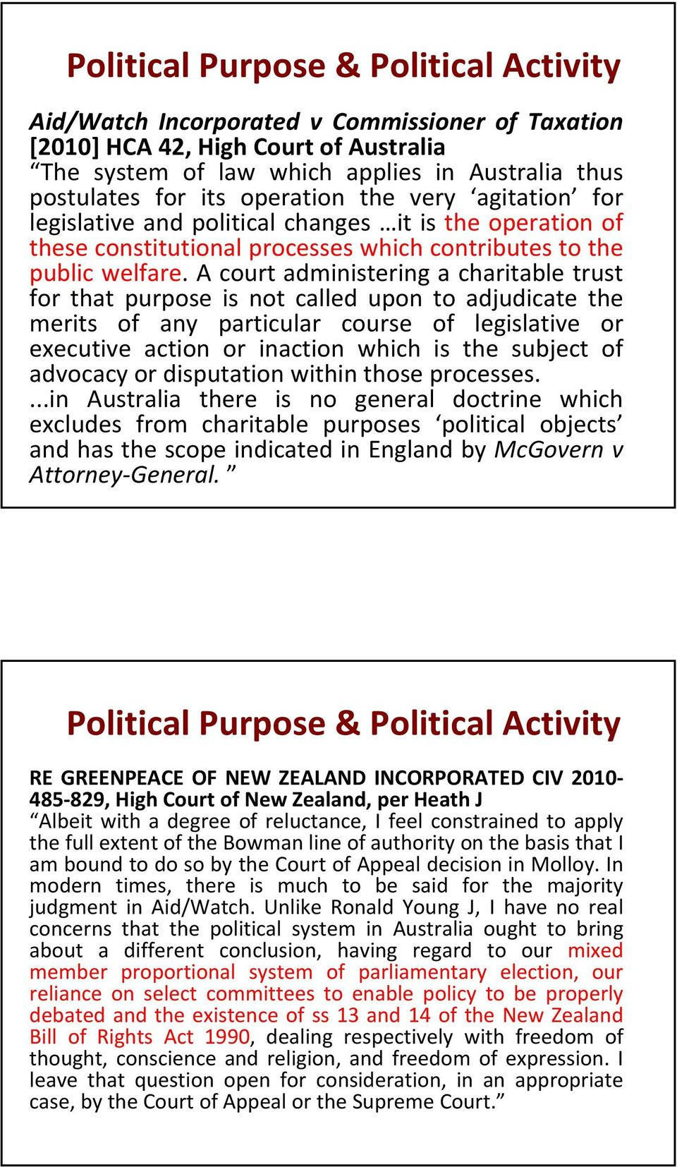 A court administering a charitable trust for that purpose is not called upon to adjudicate the merits of any particular course of legislative or executive action or inaction which is the subject of