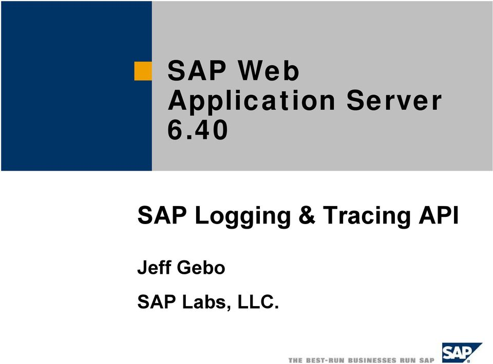 40 SAP Logging &