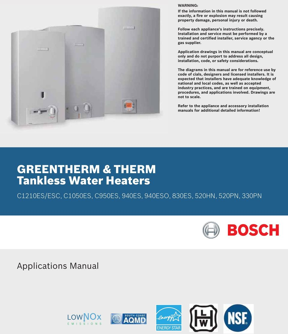 GREENTHERM & THERM Tankless Water Heaters - PDF