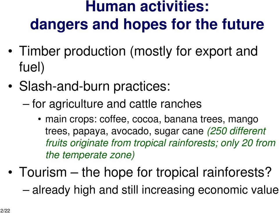 trees, papaya, avocado, sugar cane (250 different fruits originate from tropical rainforests; only 20 from