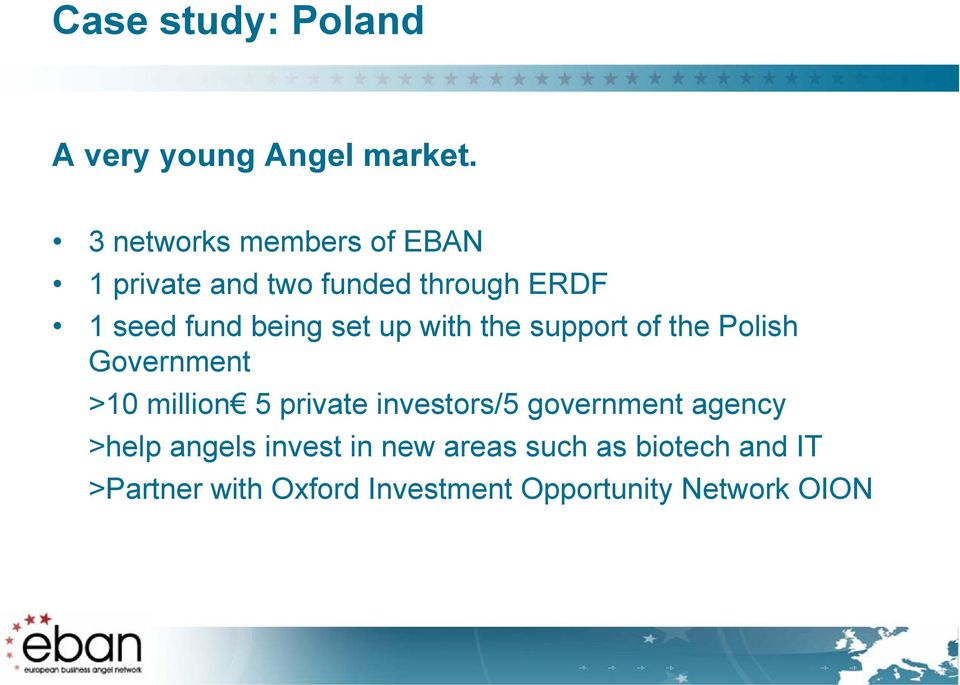 set up with the support of the Polish Government >10 million 5 private investors/5