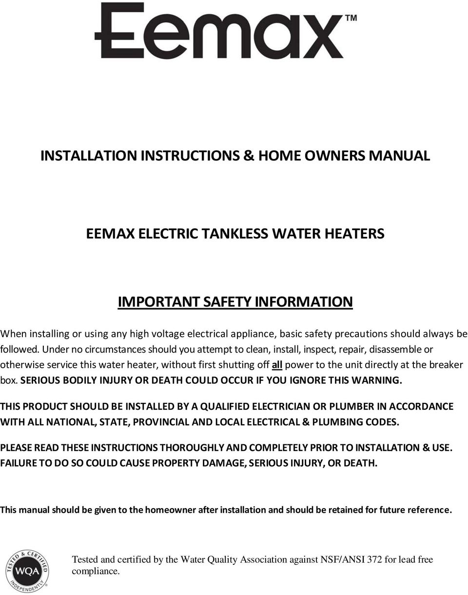 rheem electric water heater manuals pdf