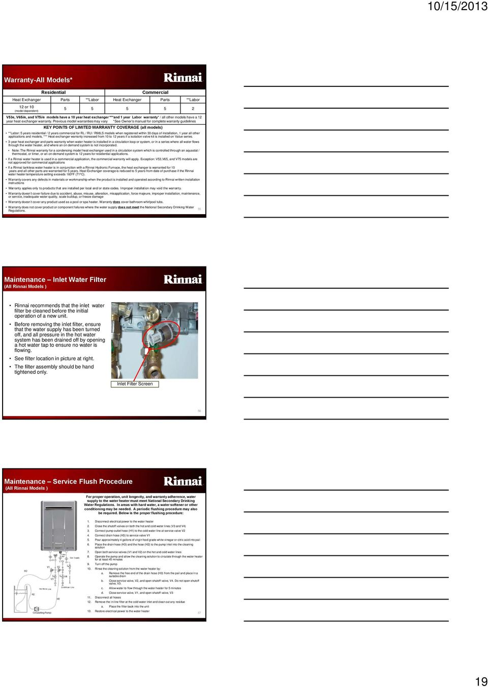10 15 2013 Tankless Water Heater Training Program Product Knowledge Rinnai Schematics Previous Model Warranties May Vary See Owner S Manual For Complete Warranty Guidelines Key Points