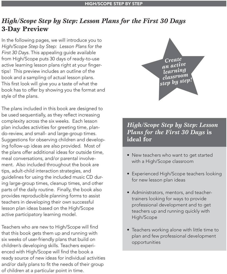 This Preview Includes An Outline Of The Book And A Sampling Actual Lesson Plans 3 HIGH SCOPE