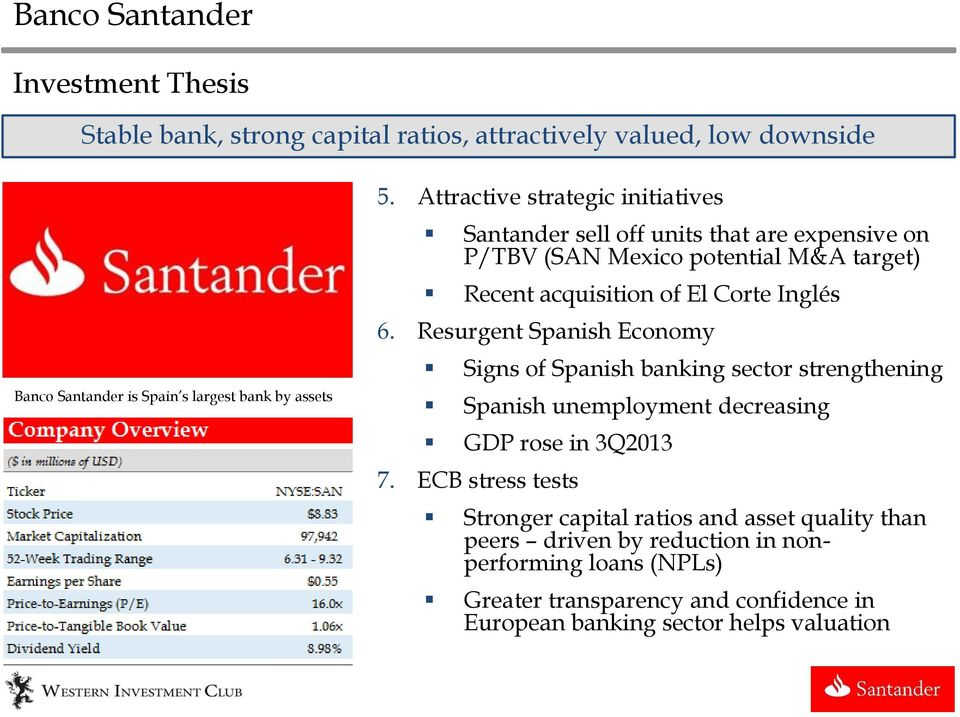 Inglés 6. Resurgent Spanish Economy Signs of Spanish banking sector strengthening Spanish unemployment decreasing GDP rose in 3Q2013 7.