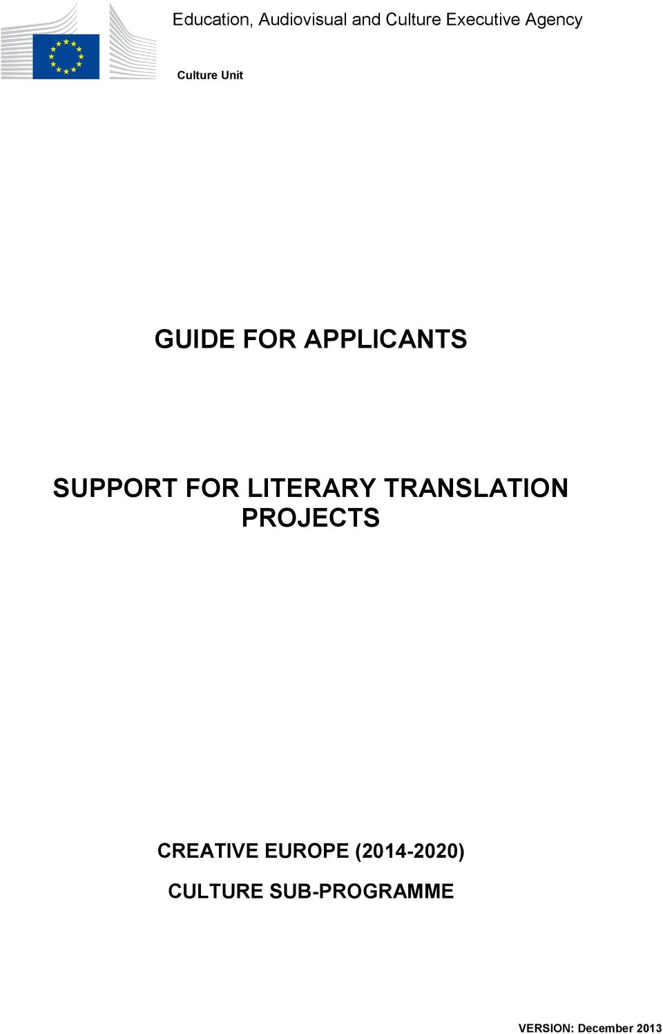 FOR LITERARY TRANSLATION PROJECTS CREATIVE EUROPE