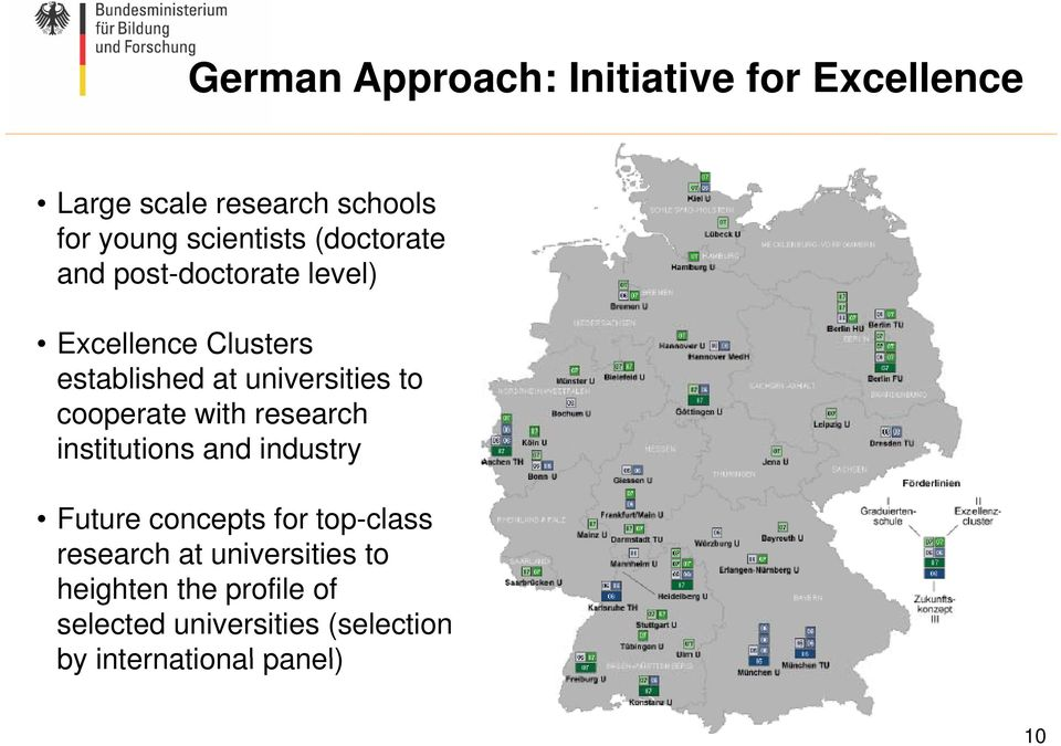 cooperate with research institutions and industry Future concepts for top-class research at