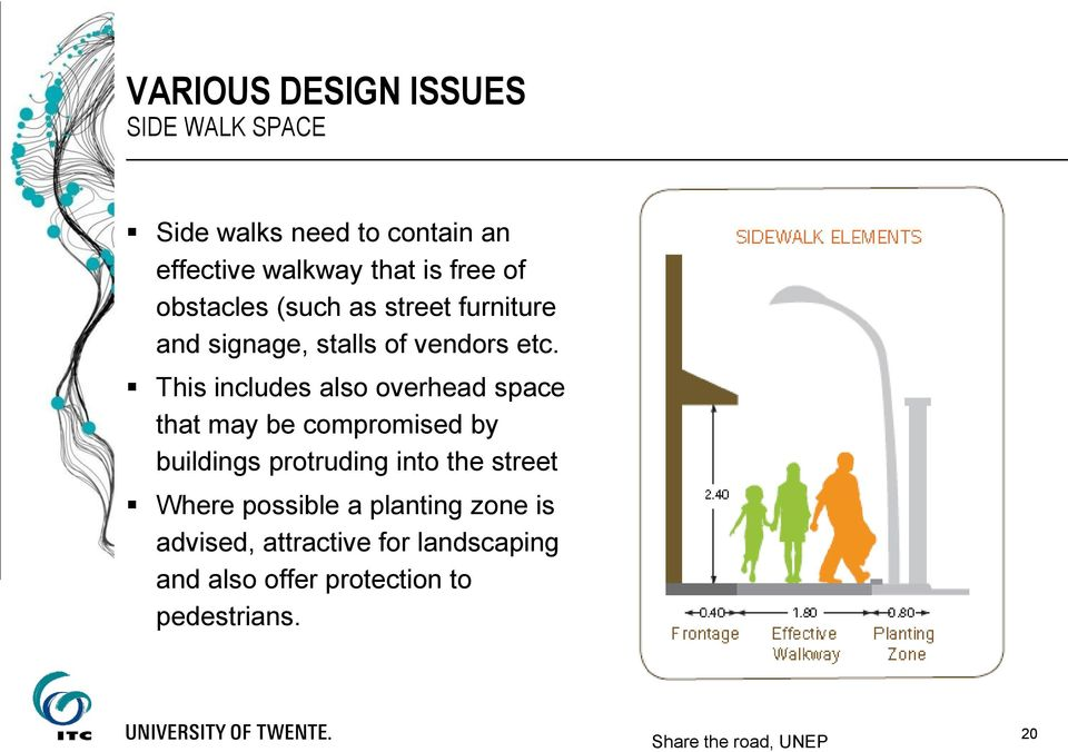 This includes also overhead space that may be compromised by buildings protruding into the street