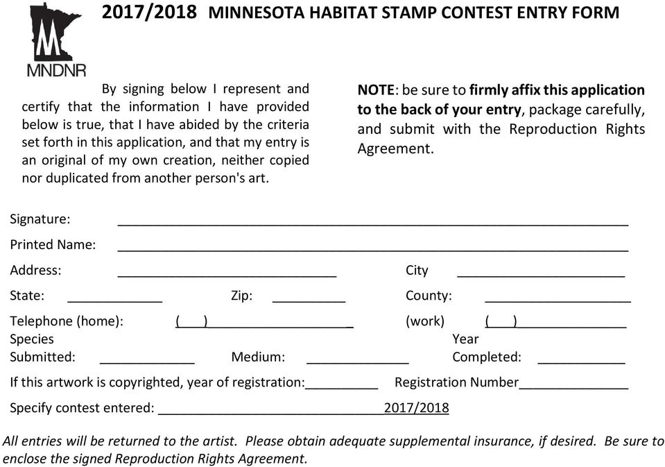 NOTE: be sure to firmly affix this application to the back of your entry, package carefully, and submit with the Reproduction Rights Agreement.