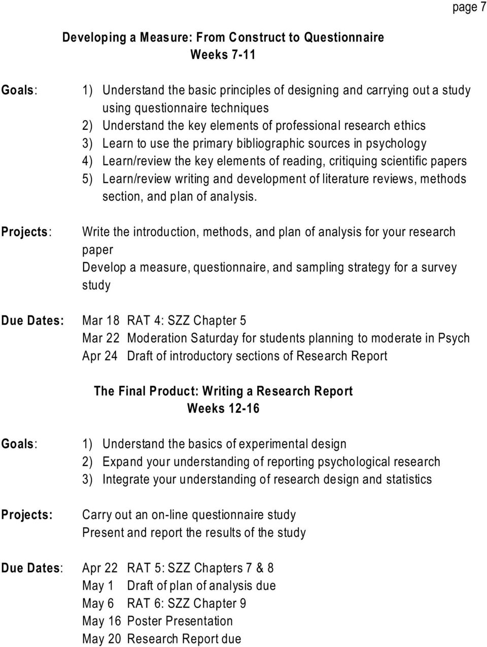 Learn/review writing and development of literature reviews, methods section, and plan of analysis.