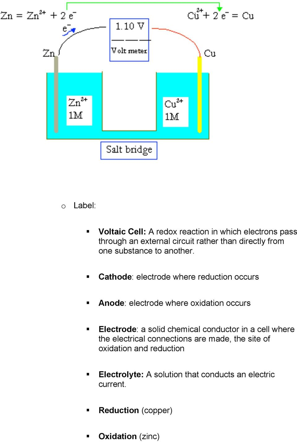 Cathode: electrode where reduction occurs Anode: electrode where oxidation occurs Electrode: a solid chemical