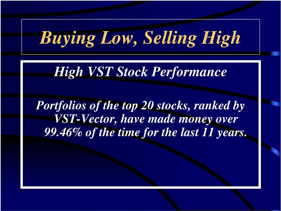 stocks, ranked by VST-Vector, have made