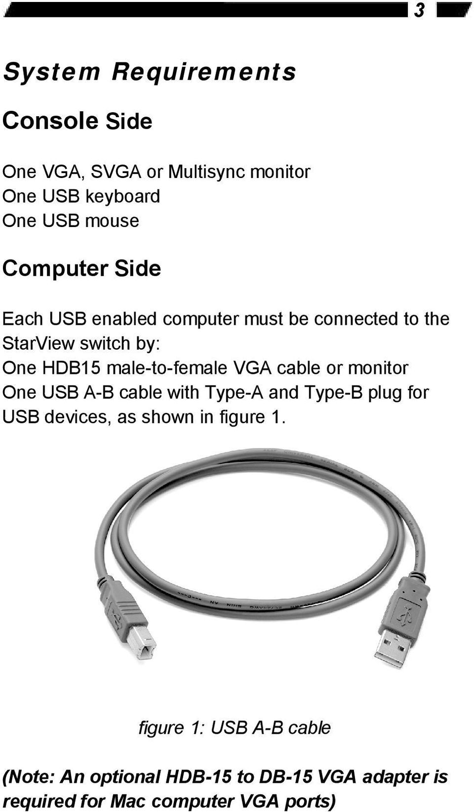 male-to-female VGA cable or monitor One USB A-B cable with Type-A and Type-B plug for USB devices, as