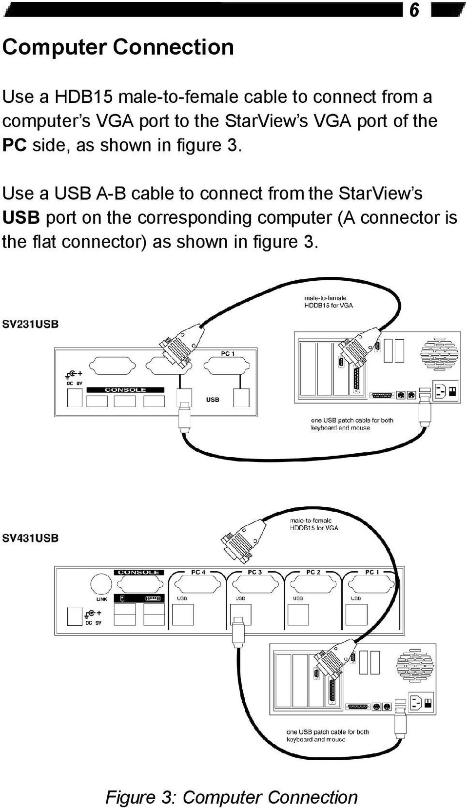 Use a USB A-B cable to connect from the StarView s USB port on the corresponding
