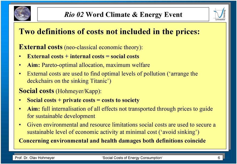 internalisation of all effects not transported through prices to guide for sustainable development Given environmental and resource limitations social costs are used to secure a sustainable level of