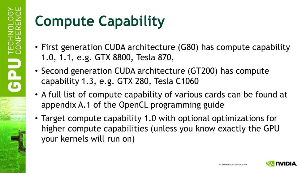 1 of the OpenCL programming guide Target compute capability 1.