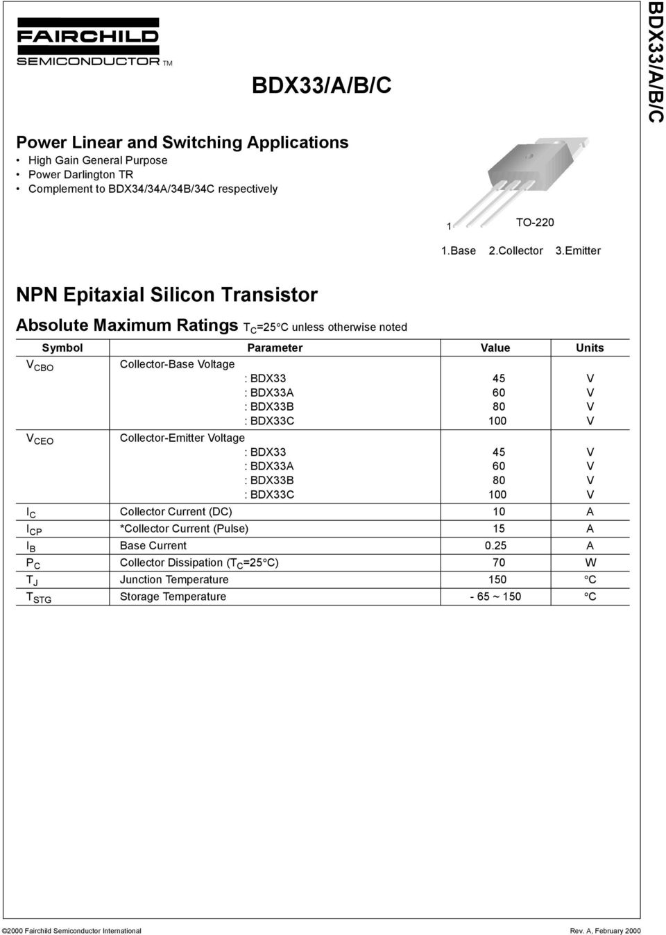 Emitter NPN Epitaxial Silicon Transistor Absolute Maximum Ratings T C =25 C unless otherwise noted Symbol Parameter alue Units CBO