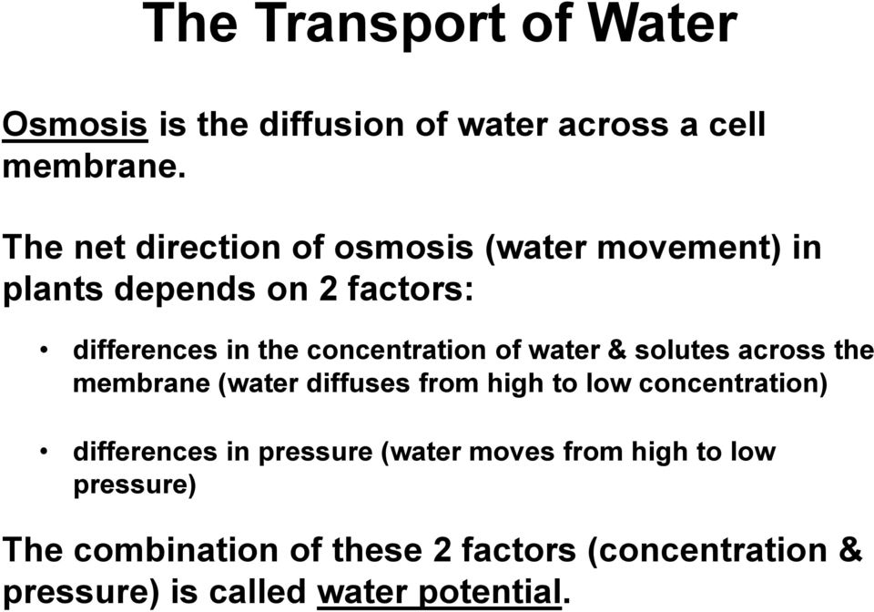 concentration of water & solutes across the membrane (water diffuses from high to low concentration)