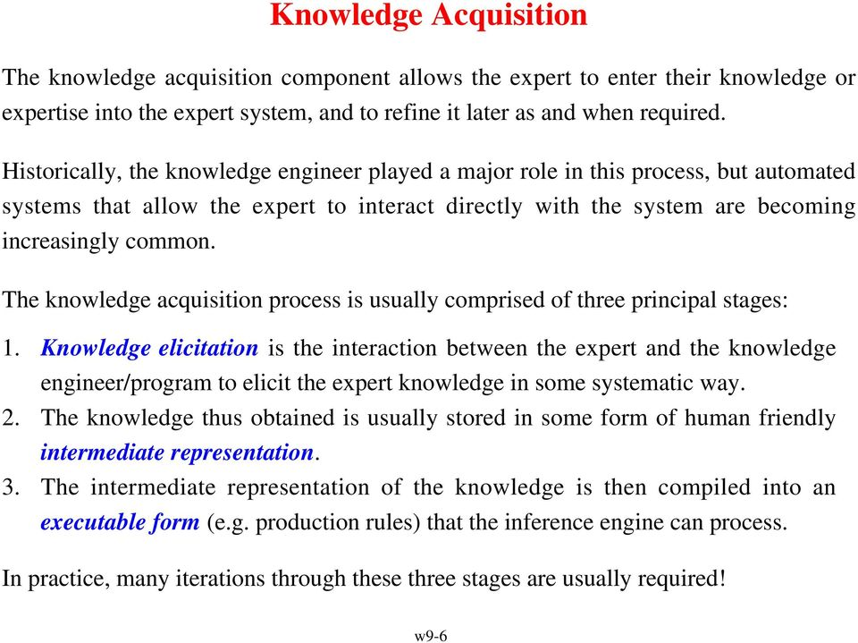 The knowledge acquisition process is usually comprised of three principal stages: 1.