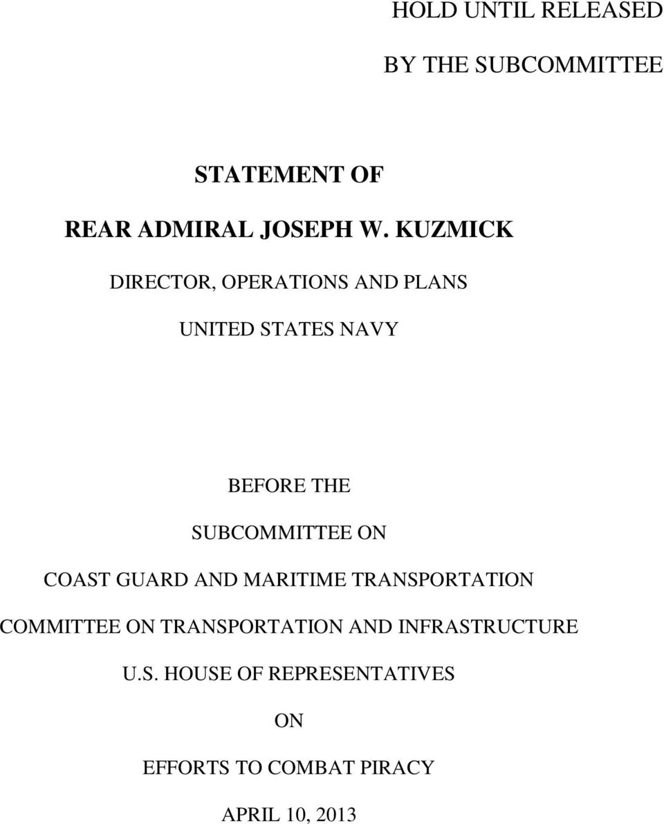 SUBCOMMITTEE ON COAST GUARD AND MARITIME TRANSPORTATION COMMITTEE ON