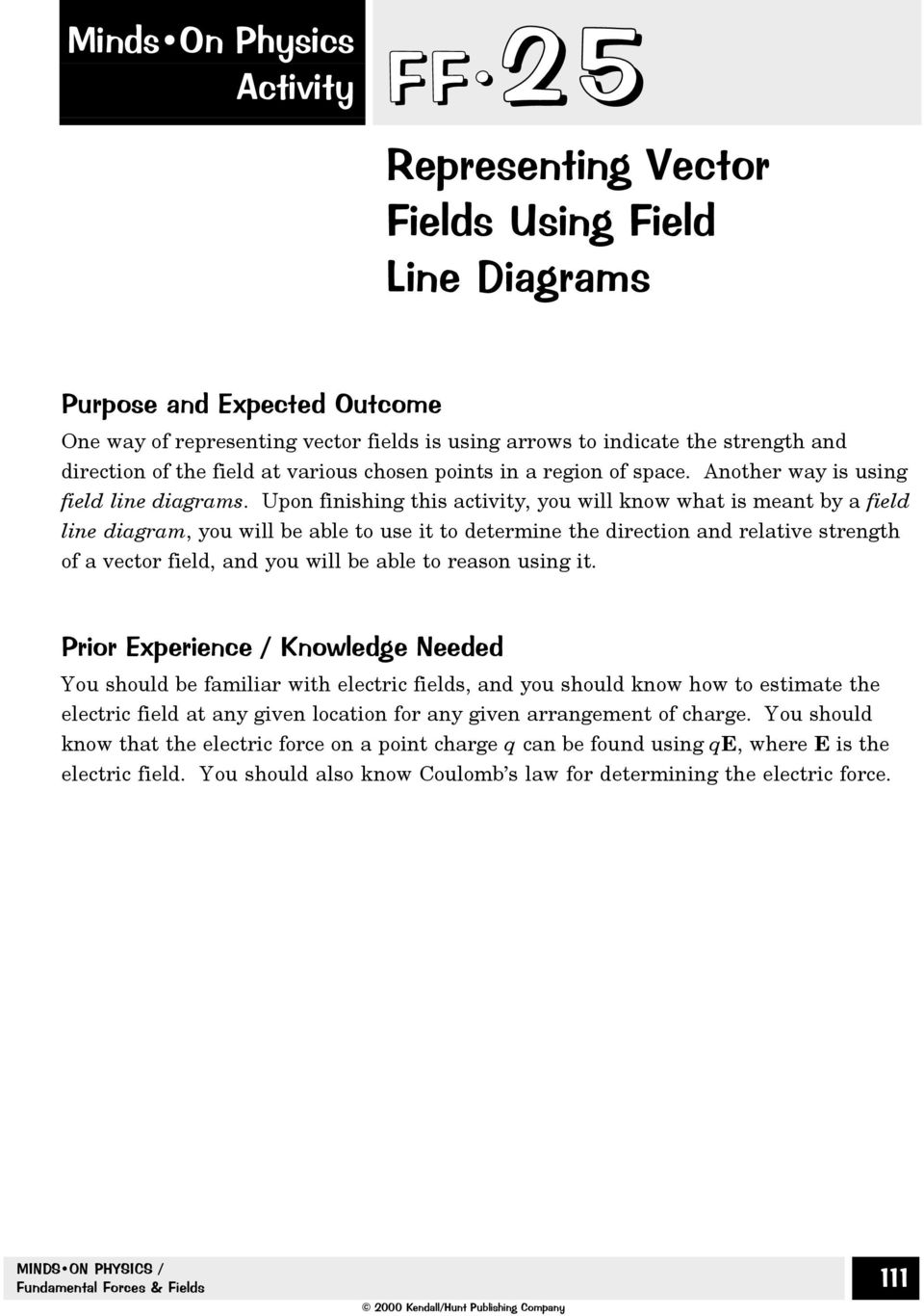 Representing Vector Fields Using Field Line Diagrams Pdf Force Upon Finishing This Activity You Will Know What Is Meant By A Diagram