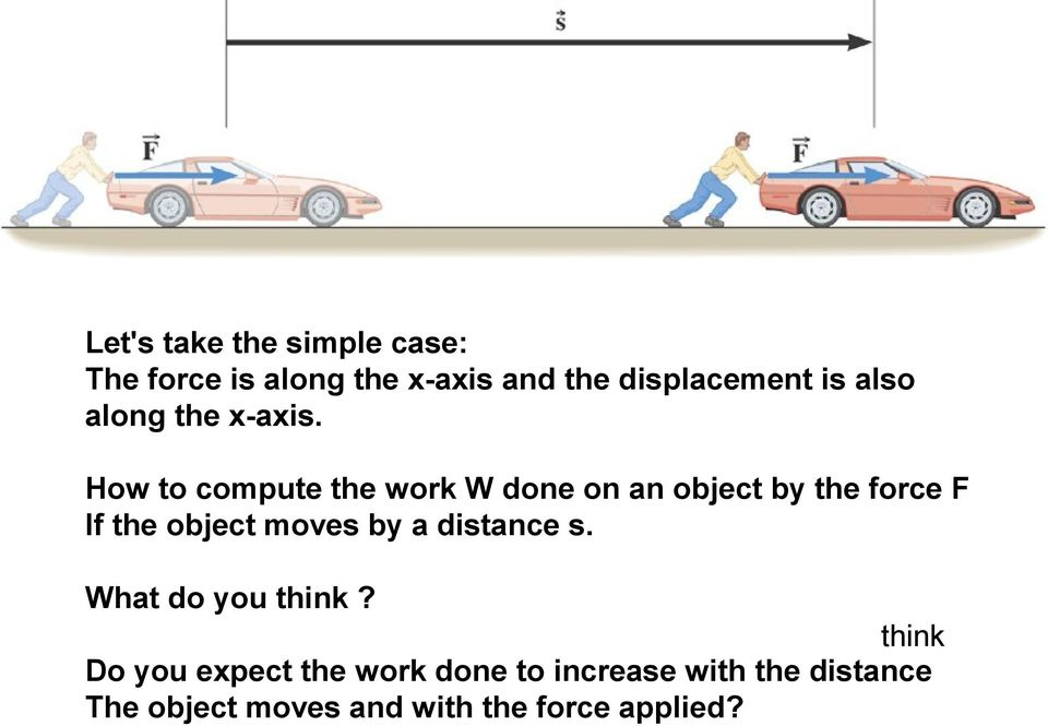 How to compute the work W done on an object by the force F If the object moves by