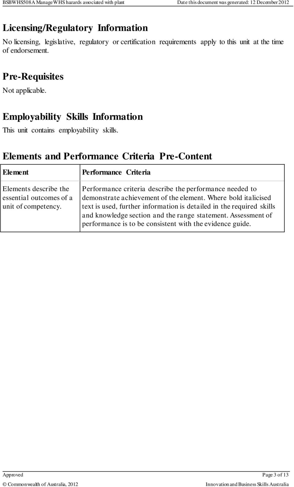 Elements and Performance Criteria Pre-Content Element Elements describe the essential outcomes of a unit of competency.