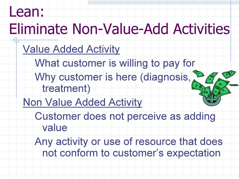 treatment) Non Value Added Activity Customer does not perceive as adding