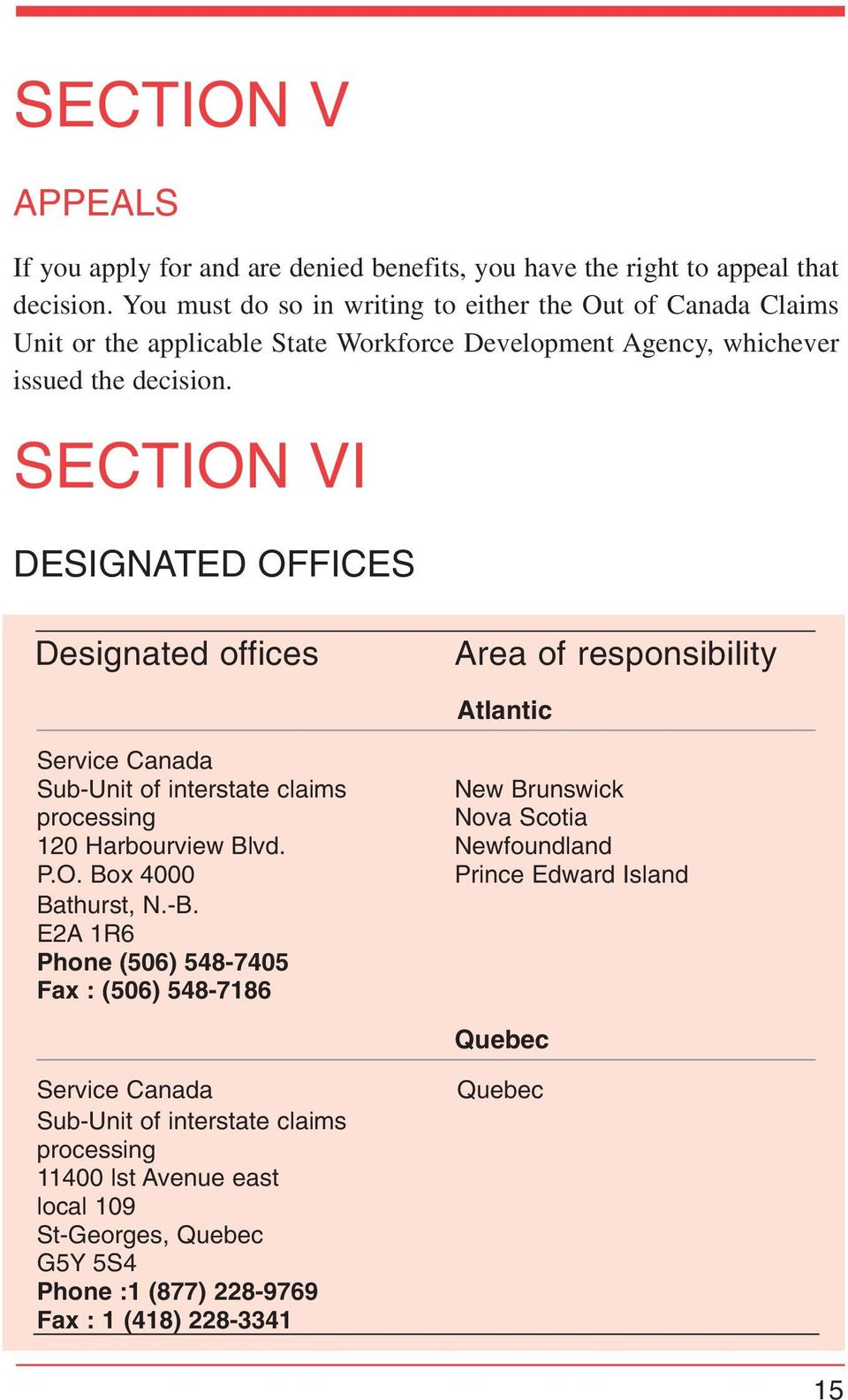 SECTION VI DESIGNATED OFFICES Designated offices Area of responsibility Atlantic Service Canada Sub-Unit of interstate claims New Brunswick processing Nova Scotia 120 Harbourview