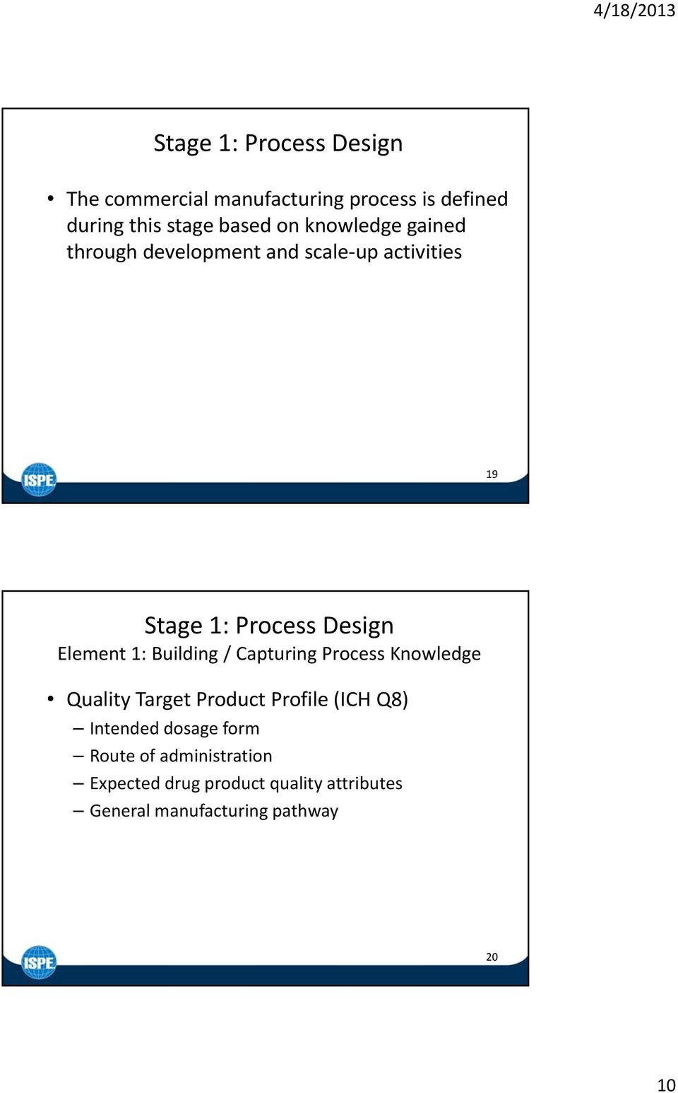 Building / Capturing Process Knowledge Quality Target Product Profile (ICH Q8) Intended dosage form