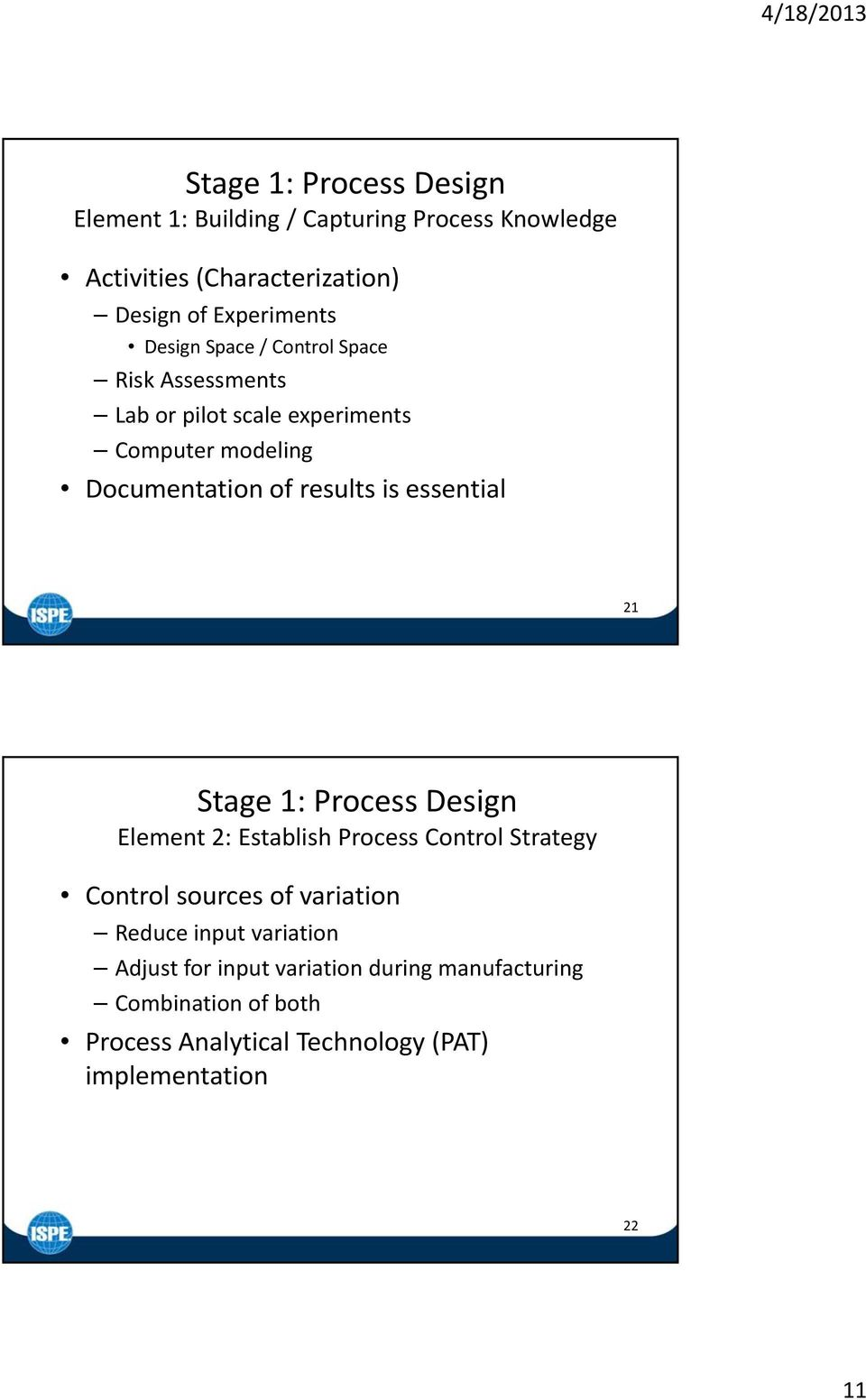 essential 21 Stage 1: Process Design Element 2: Establish Process Control Strategy Control sources of variation Reduce input