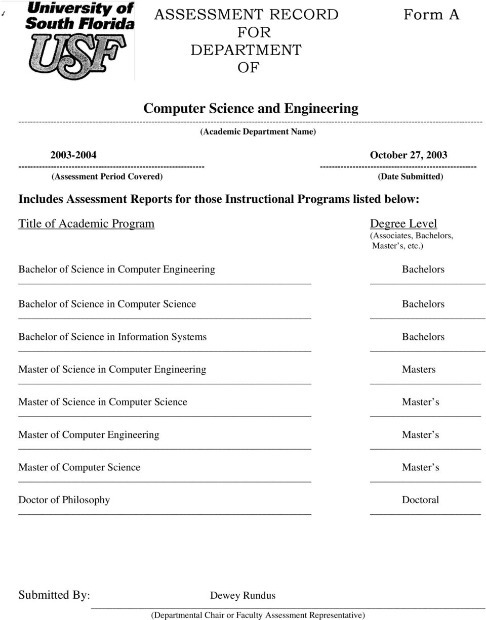 ---------------------------------- Includes Assessment Reports for those Instructional Programs listed below: Title of Academic Program Bachelor of Science in Computer Engineering Bachelor of Science