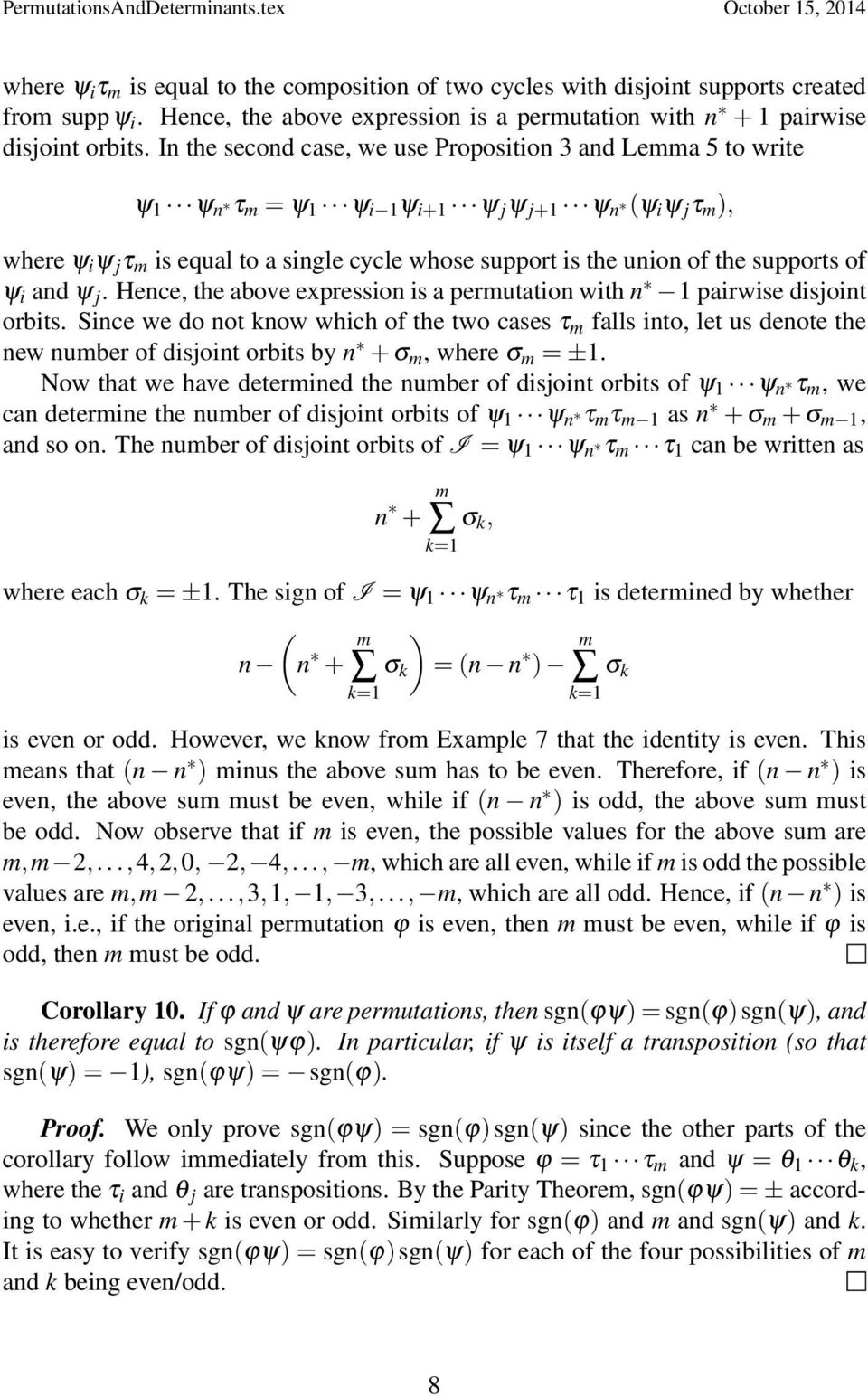 of ψ i ad ψ j. Hece, the above expressio is a permutatio with 1 pairwise disjoit orbits.