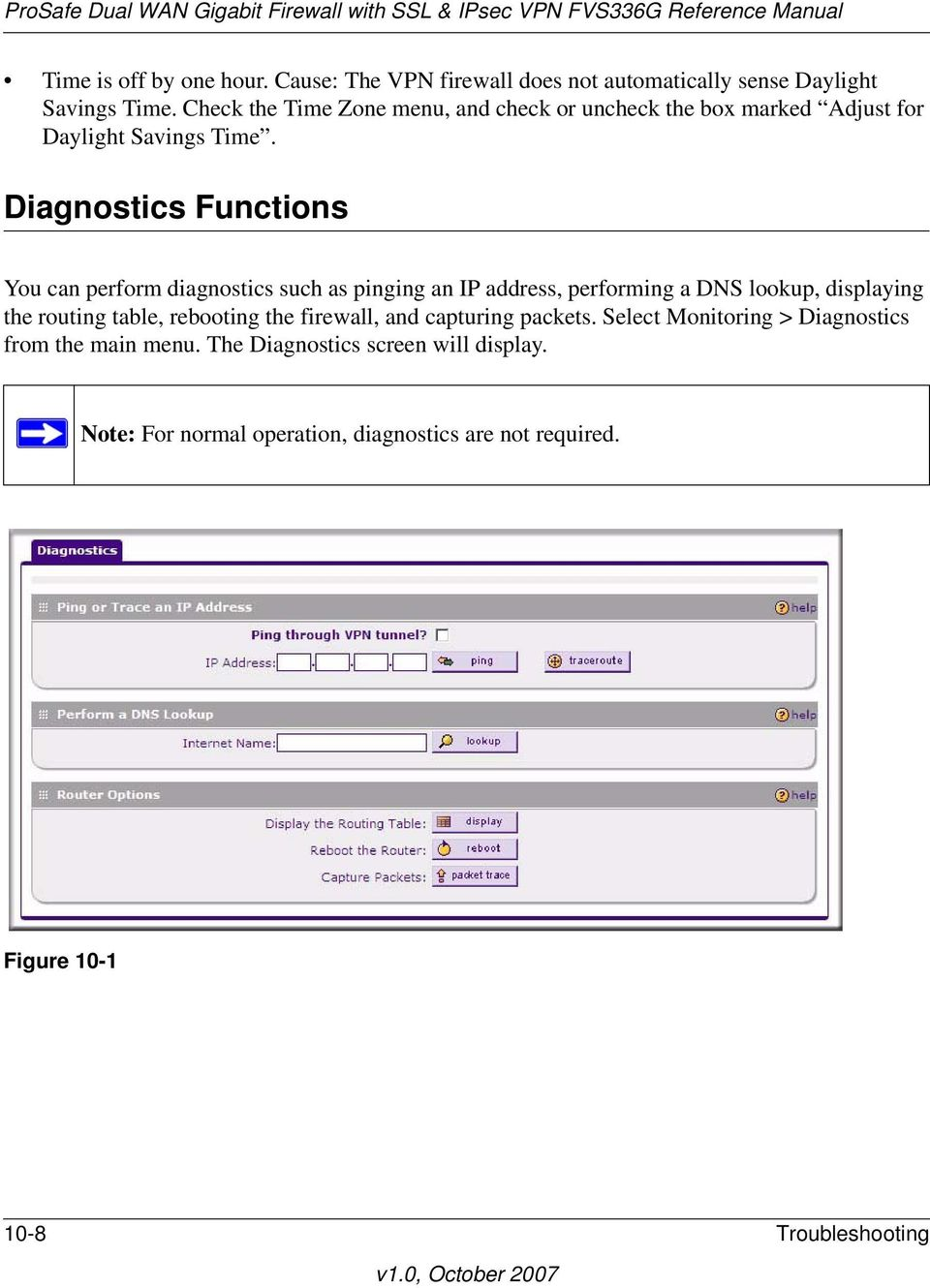 Diagnostics Functions You can perform diagnostics such as pinging an IP address, performing a DNS lookup, displaying the routing table,