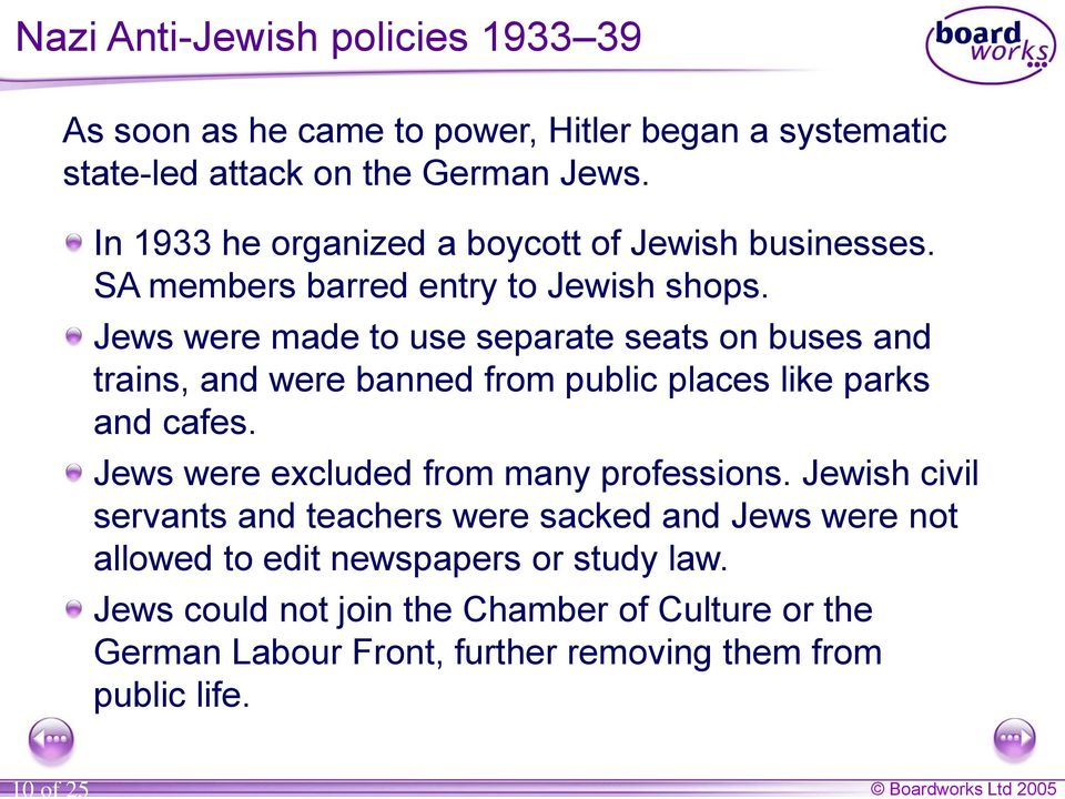 Jews were made to use separate seats on buses and trains, and were banned from public places like parks and cafes.