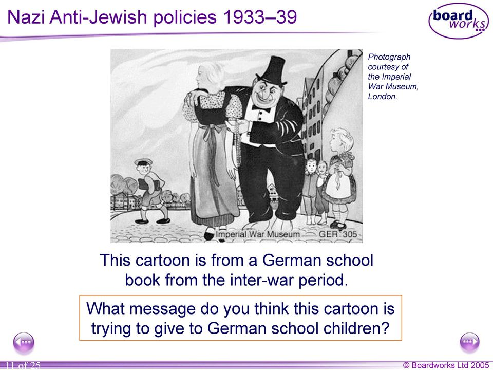 This cartoon is from a German school book from the inter-war