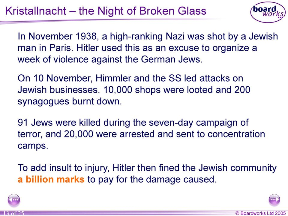 On 10 November, Himmler and the SS led attacks on Jewish businesses. 10,000 shops were looted and 200 synagogues burnt down.